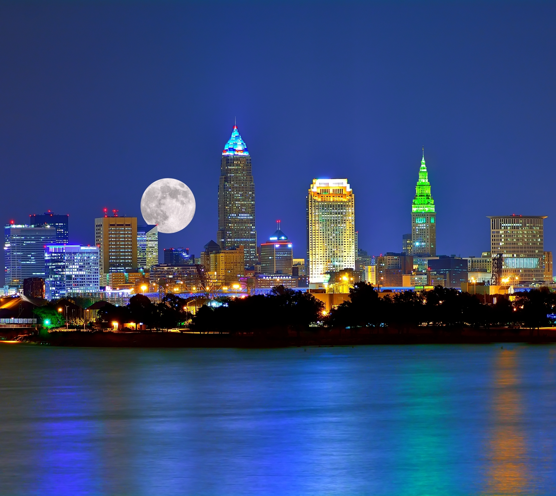 Moonrise Over The Cleveland Ohio Skyline And Lake Erie
